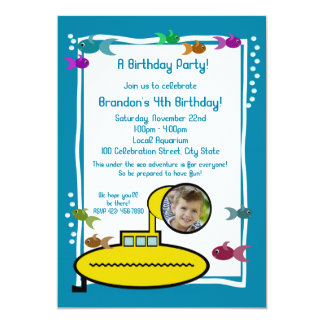 """Cumpleaños sub tonto del acuario invitación 5"""" x 7"""""""