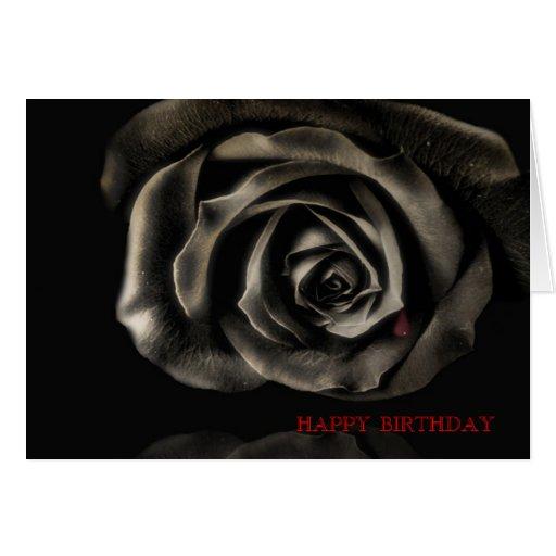 Cumpleaños subió negro gótico del vampiro feliz tarjeta de felicitación