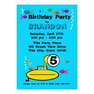 """Cumpleaños submarino tonto invitación 5"""" x 7"""""""