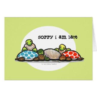 Cumpleaños tardío de las tortugas del tiempo de la tarjeta de felicitación