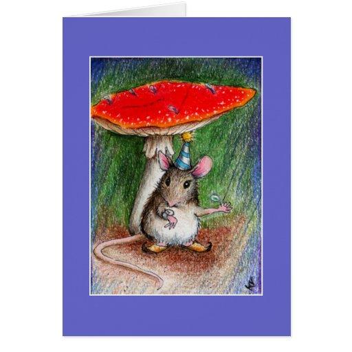 Cumpleaños tardío del ratón lindo felicitaciones