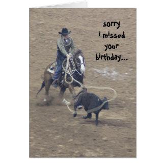Cumpleaños tardío del rodeo divertido, (un poco tarjeta de felicitación