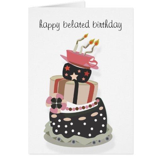 Cumpleaños tardío feliz Notecard Tarjeta Pequeña