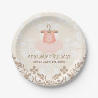 Cumpleaños temático del ballet con monograma del plato de papel de 7 pulgadas