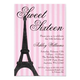 Cumpleaños temático del dulce 16 de París de la Invitación 12,7 X 17,8 Cm