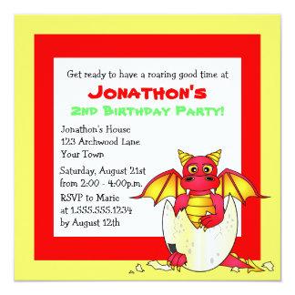 """Cumpleaños temático del niño del dragón lindo - invitación 5.25"""" x 5.25"""""""