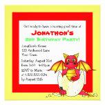 Cumpleaños temático del niño del dragón lindo - ro invitación personalizada