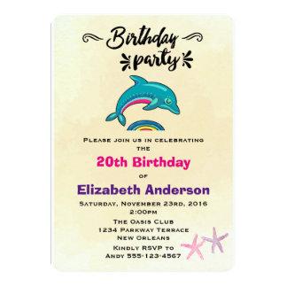 """Cumpleaños temático tropical del delfín y de las invitación 5"""" x 7"""""""