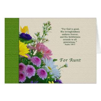 Cumpleaños, tía, ramo floral, religioso tarjeta de felicitación