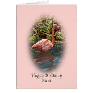 Cumpleaños, tía, tarjeta rosada del flamenco