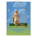 Cumpleaños, tío, pájaro Legged áspero del halcón Felicitacion