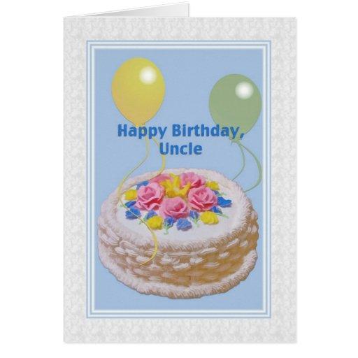 Cumpleaños, tío, torta y globos tarjeton