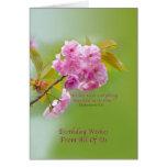 Cumpleaños, todos nosotros, flores de cerezo tarjeta
