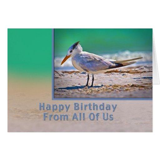 Cumpleaños, todos nosotros, pájaro real de la tarjeta de felicitación
