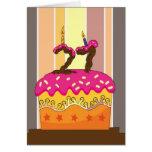cumpleaños - torta con la vela 21 - 21ro gre del tarjetón