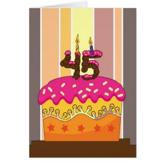 cumpleaños - torta con las velas 45 - 45.o tarjeta de felicitación