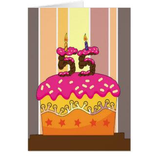cumpleaños - torta con las velas 55 - 55.o tarjeta de felicitación
