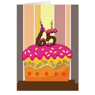 cumpleaños - torta con las velas 65 - 65.o tarjeta de felicitación