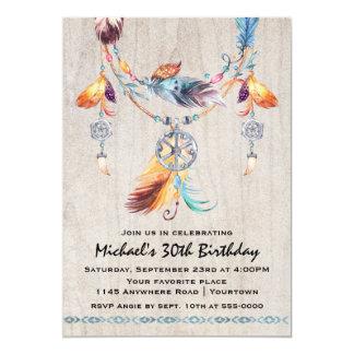 """Cumpleaños tribal del adulto de la acuarela de invitación 5"""" x 7"""""""