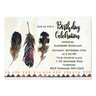 """Cumpleaños tribal del adulto de la pluma invitación 5"""" x 7"""""""