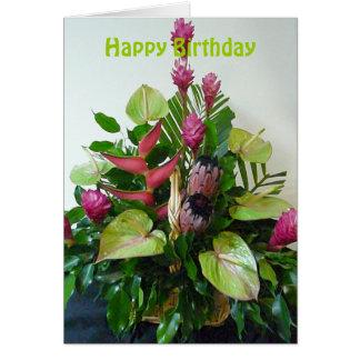 Cumpleaños tropical del centro de flores del rosa tarjeta de felicitación
