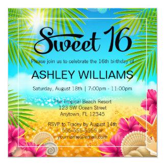 """Cumpleaños tropical del dulce 16 del hibisco del invitación 5.25"""" x 5.25"""""""