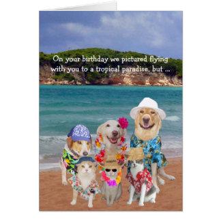Cumpleaños tropical del paraíso de los mascotas tarjeta de felicitación