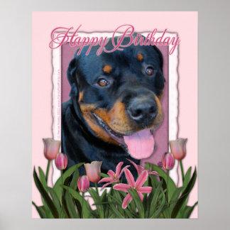Cumpleaños - tulipanes rosados - Rottweiler - Harl Impresiones
