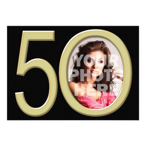 Cumpleaños u otro de la foto del oro 50.o invitaci invitacion personalizada