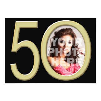 """Cumpleaños u otro de la foto del oro 50.o invitación 5"""" x 7"""""""