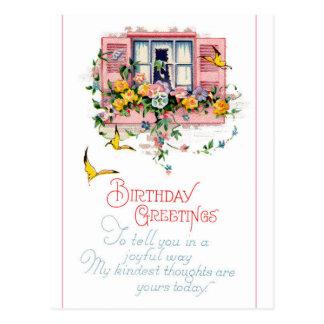 Cumpleaños - ventana rosada del obturador postal