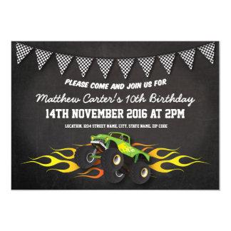 """Cumpleaños verde del empavesado del camión del invitación 5"""" x 7"""""""