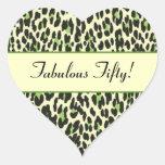 Cumpleaños verde del leopardo cincuenta fabulosos colcomanias corazon