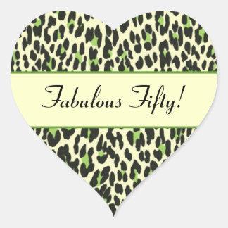 Cumpleaños verde del leopardo cincuenta fabulosos colcomanias corazon personalizadas