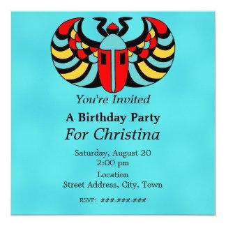 """Cumpleaños vibrante colorido egipcio del invitación 5.25"""" x 5.25"""""""