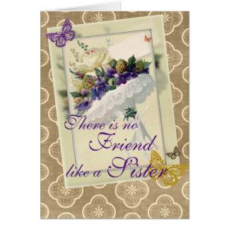 Cumpleaños violeta de la hermana y del amigo del tarjeta de felicitación