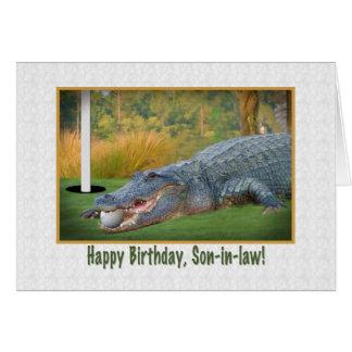 Cumpleaños, yerno, golf, cocodrilo felicitación
