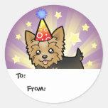 Cumpleaños Yorkshire Terrier (pelo corto con el ar Etiqueta Redonda