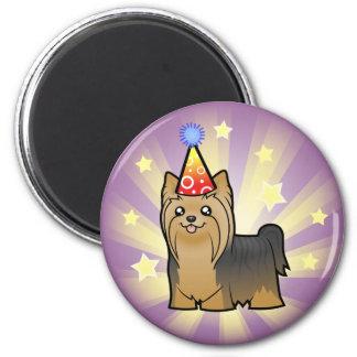 Cumpleaños Yorkshire Terrier (pelo largo ningún Imán Redondo 5 Cm
