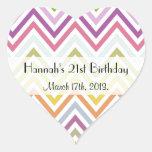 Cumpleaños - zigzag (Chevron) - rosa azulverde Pegatina De Corazon Personalizadas