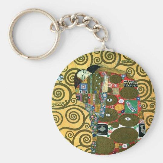 Cumplimiento aka el abrazo de Gustavo Klimt Llavero Redondo Tipo Pin