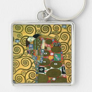 Cumplimiento (el abrazo) por Gustavo Klimt Llavero Cuadrado Plateado