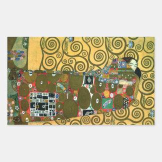 Cumplimiento (el abrazo) por Gustavo Klimt Pegatina Rectangular