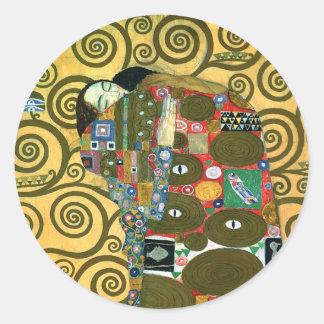 Cumplimiento (el abrazo) por Gustavo Klimt Pegatina Redonda