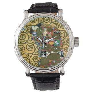 Cumplimiento (el abrazo) por Gustavo Klimt Relojes De Mano