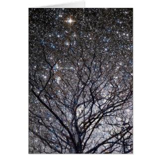 Cúmulo de estrellas cósmico del árbol de navidad tarjeta de felicitación
