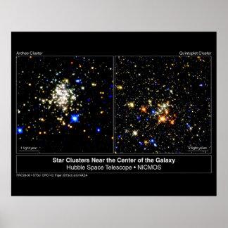 Cúmulo de estrellas de los arcos y cúmulo de estre póster