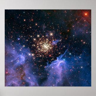 Cúmulo de estrellas de NASAs NGC3603 Poster