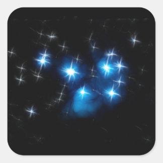 Cúmulo de estrellas del azul de Pleiades Calcomanía Cuadradase