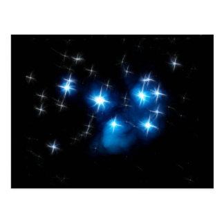Cúmulo de estrellas del azul de Pleiades Postal